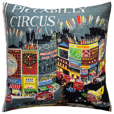 Piccadilly Circus vintage linen teatowel cushion cover