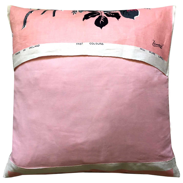 Soft and delicate pink rose vintage linen cushion cover