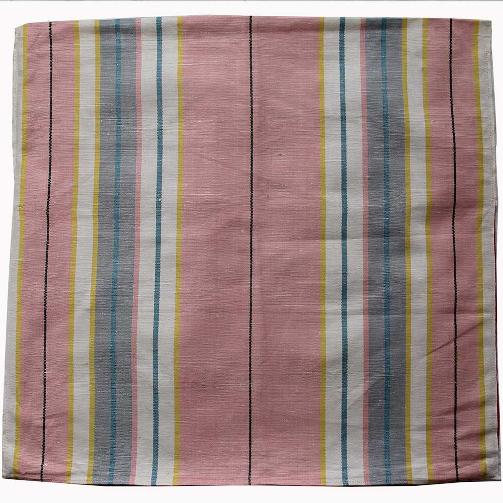 Love And West pink wide stripe linen teatowel cushion cover