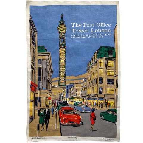 London Post Office Tower vintage linen teatowel