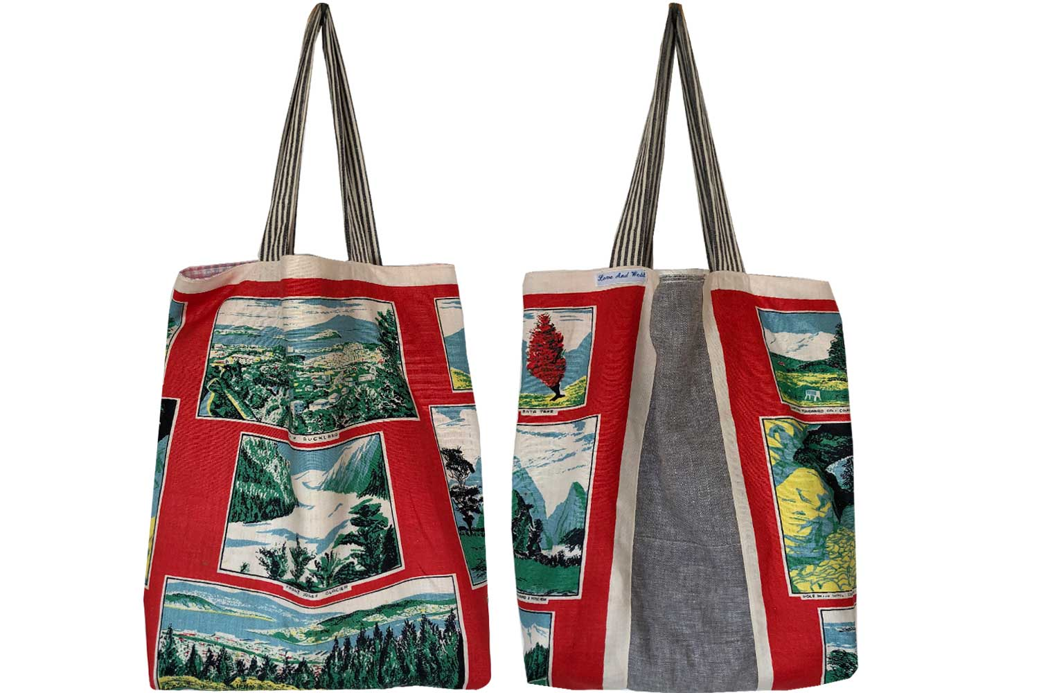 Postcards from New Zealand repurposed teatowel shopping tote