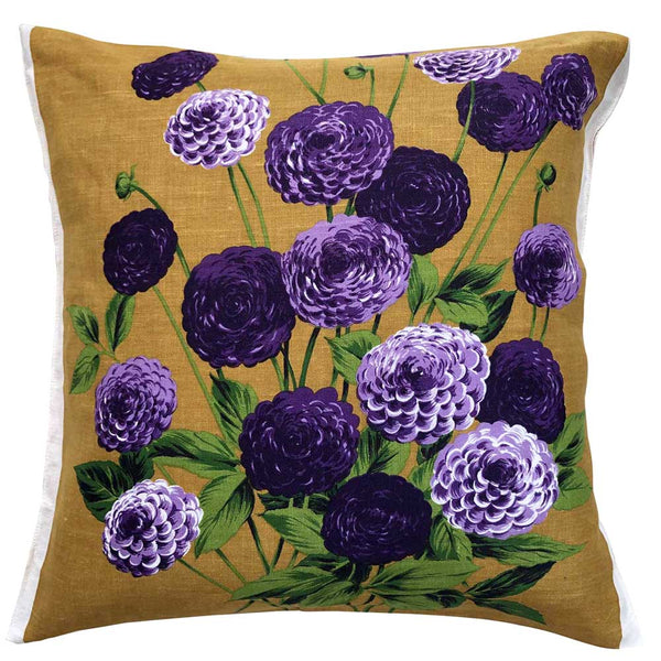 Purple asters on golden linen