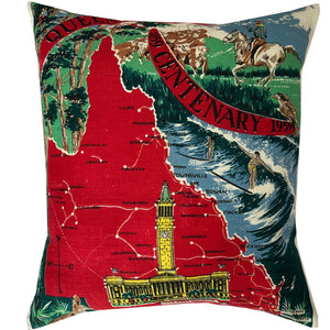 Queensland centenary 1959 souvenir teatowel cushion cover