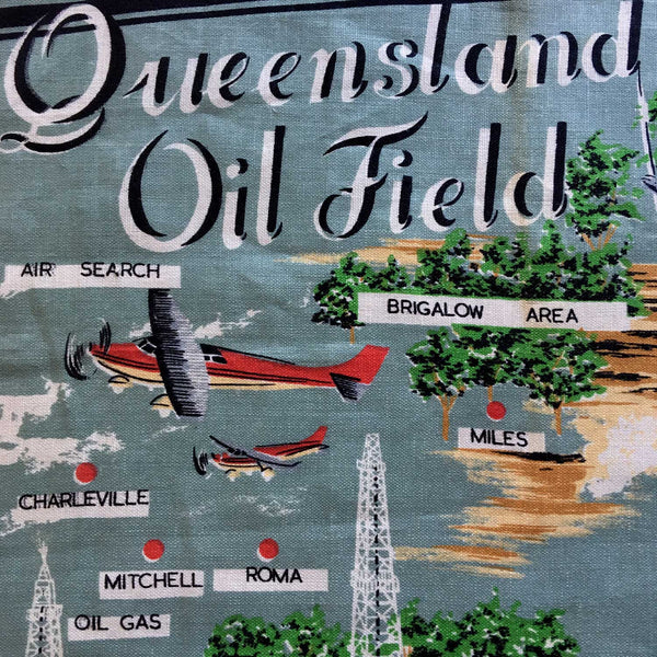 Central Queensland oil fields vintage linen cushion cover