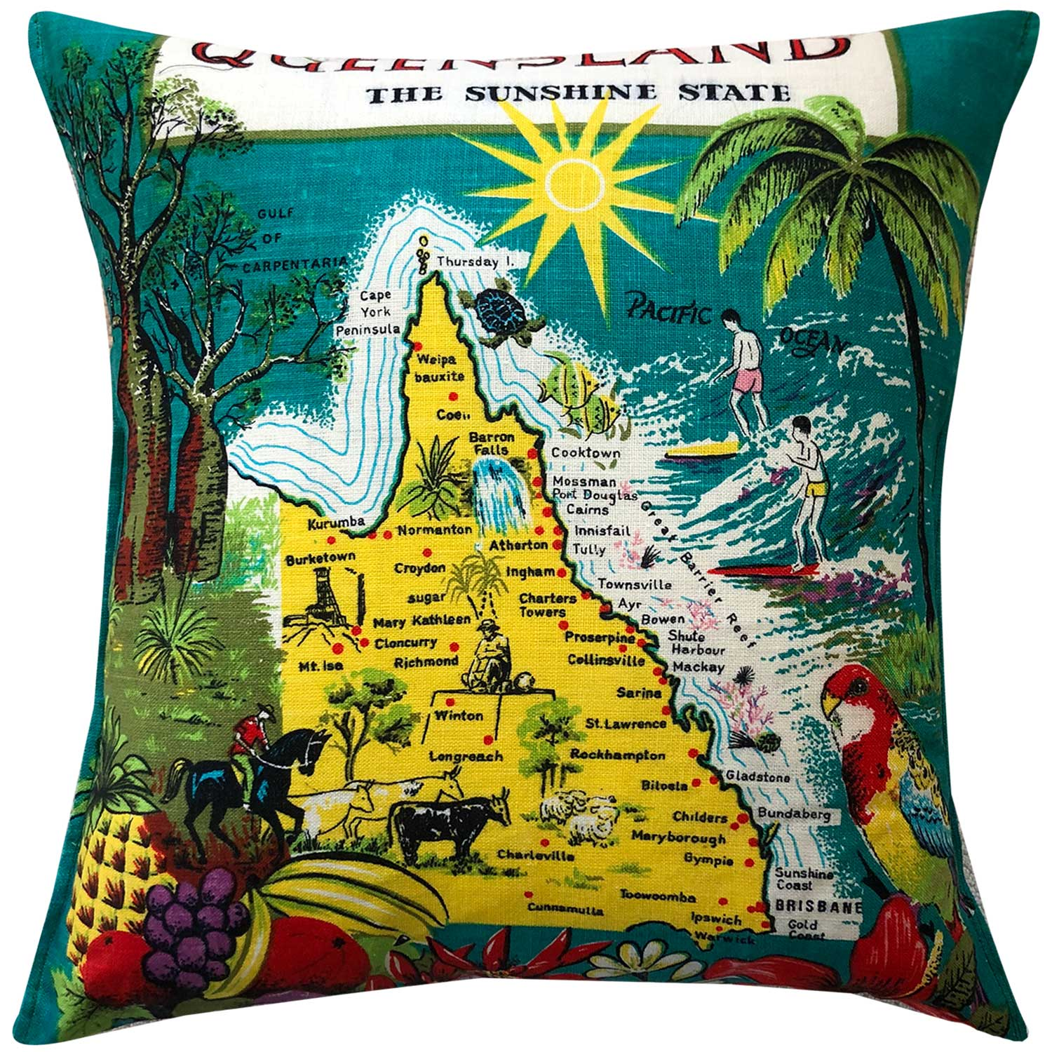 Queensland souvenir teatowel cushion cover