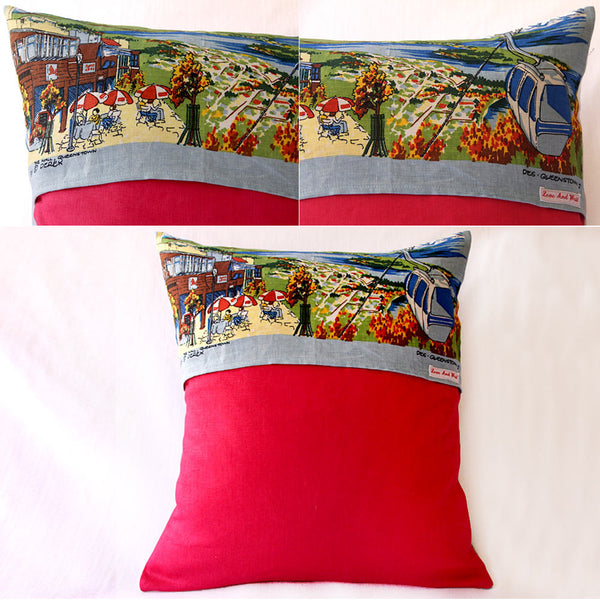 Queenstown, New Zealand vintage linen souvenir teatowel cushion cover