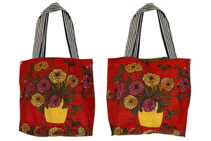 Chrysanthemums on red linen tote