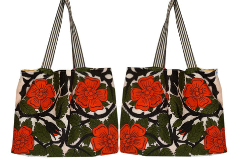 Lush red floral repurposed teatowel shopping tote