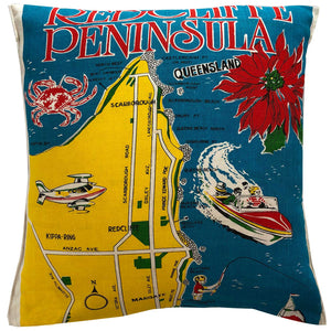 Redcliffe Peninsula vintage linen teatowel cushion cover