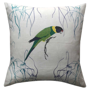 ring necked parrot teatowel cushion cover reverse