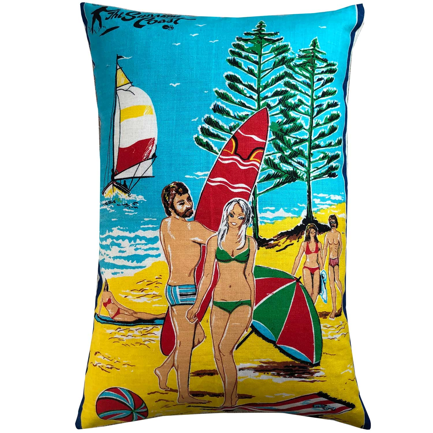 Buy funky retro Ron Burgundy goes to the beach cushion | free shipping