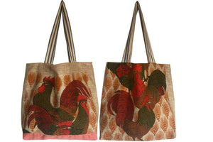 Roosters on natural linen teatowel tote