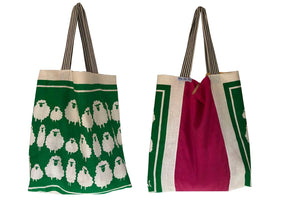 Sheep on green grass teatowel tote