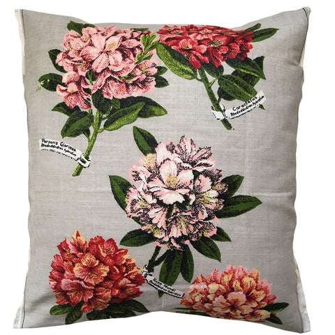 Rhododendron hybridum on silver linen