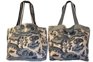 Willow pattern teatowel tote bag