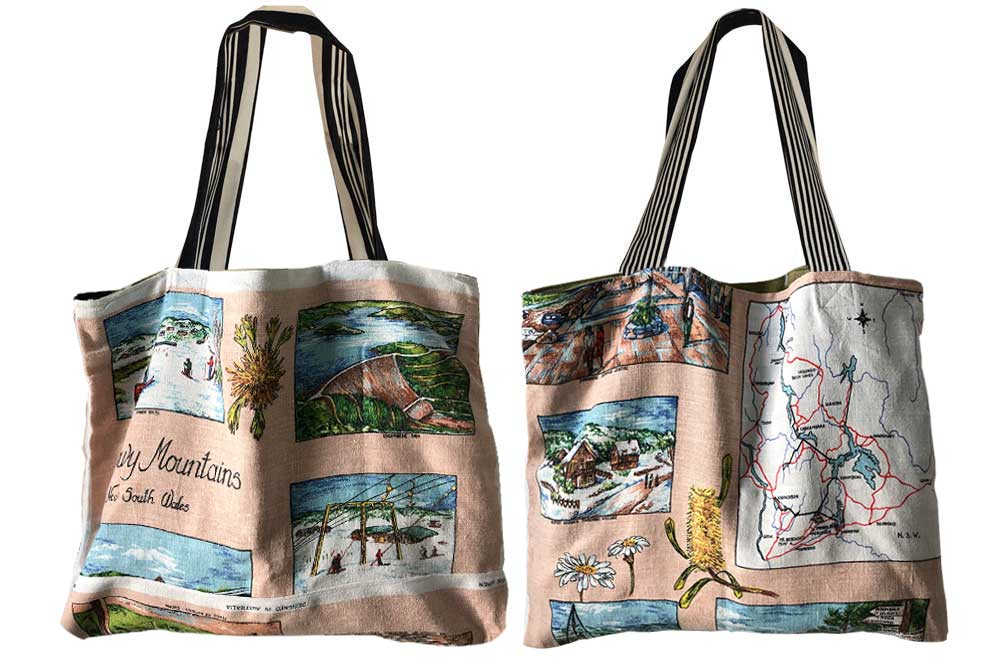 Snowy Mountains teatowel tote