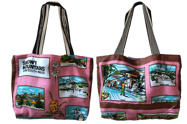 Snowy Mountains on pink teatowel tote