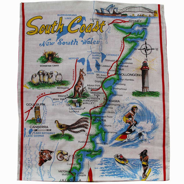 NSW south coast vintage souvenir teatowel cushion cover