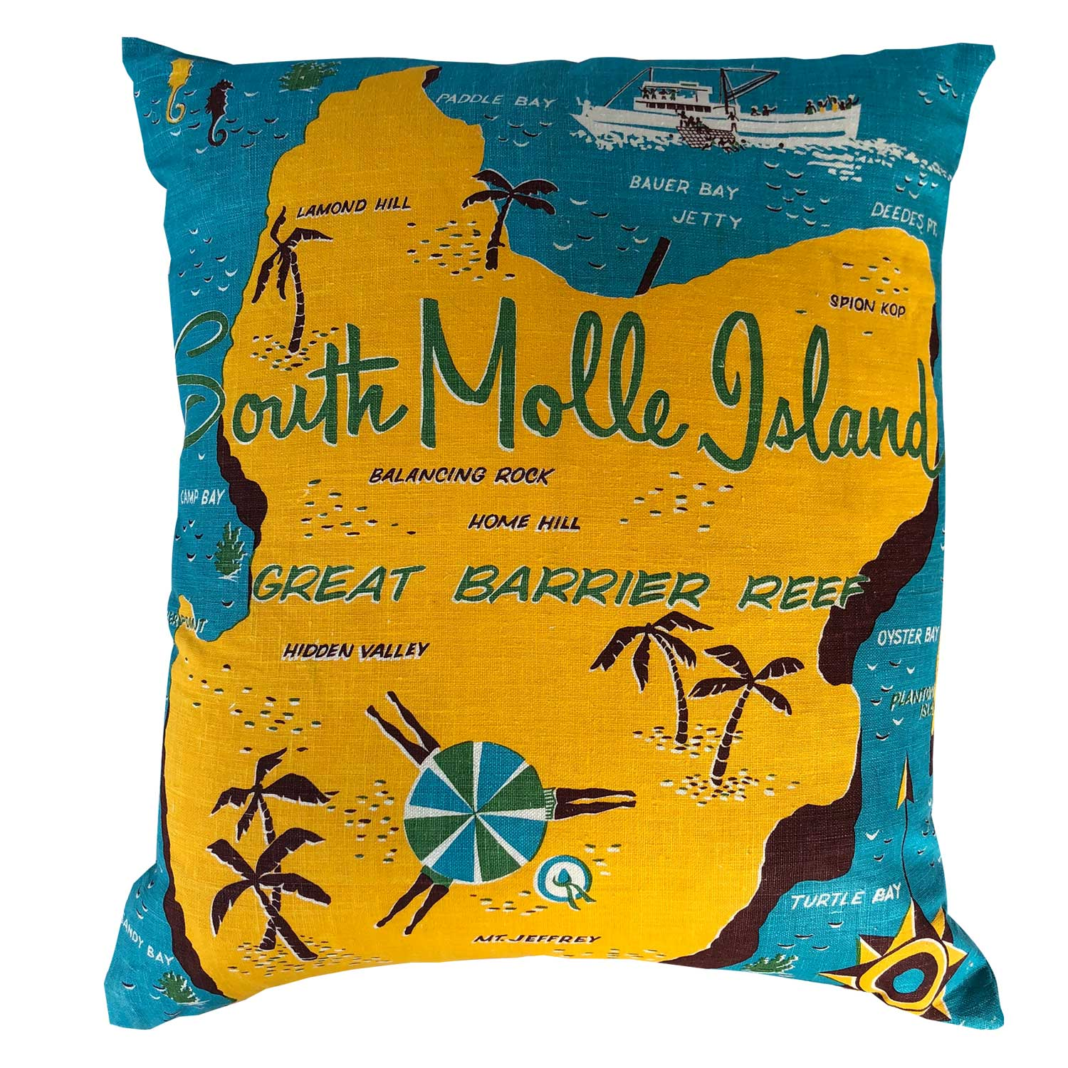 South Molle Island souvenir teatowel cushion cover
