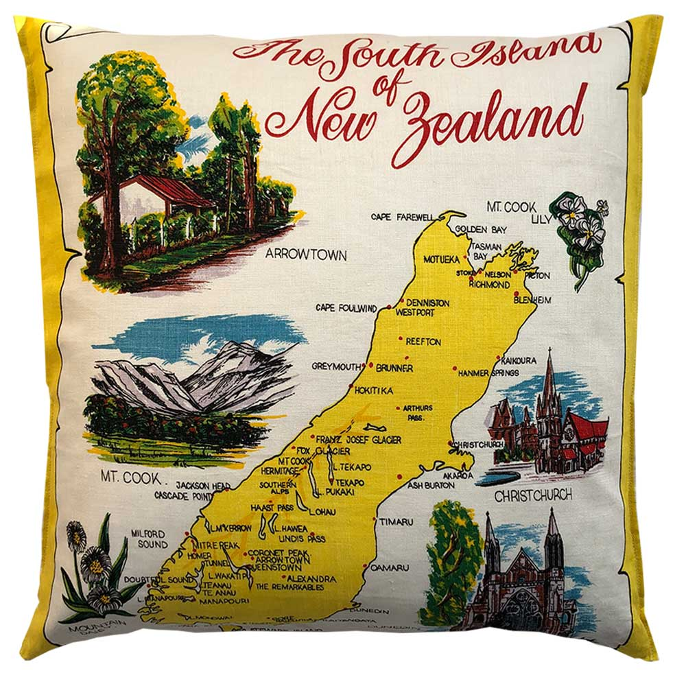 South Island New Zealand souvenir teatowel cushion cover