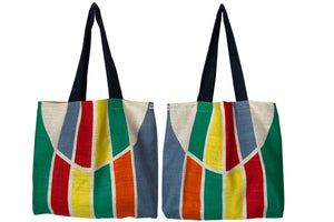 Stripes and circles Mid century Modern linen teatowel tote