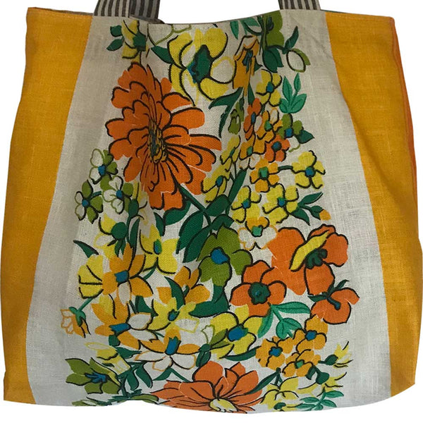 Sunny yellow teatowel shopping tote detail
