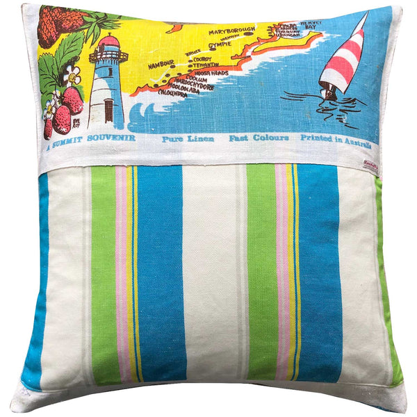 The sunshine and north coast of queensland vintage teatowel cushion cover