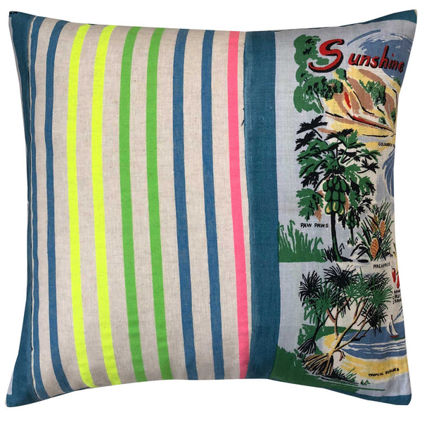 Sunshine Coast souvenir teatowel cushion cover