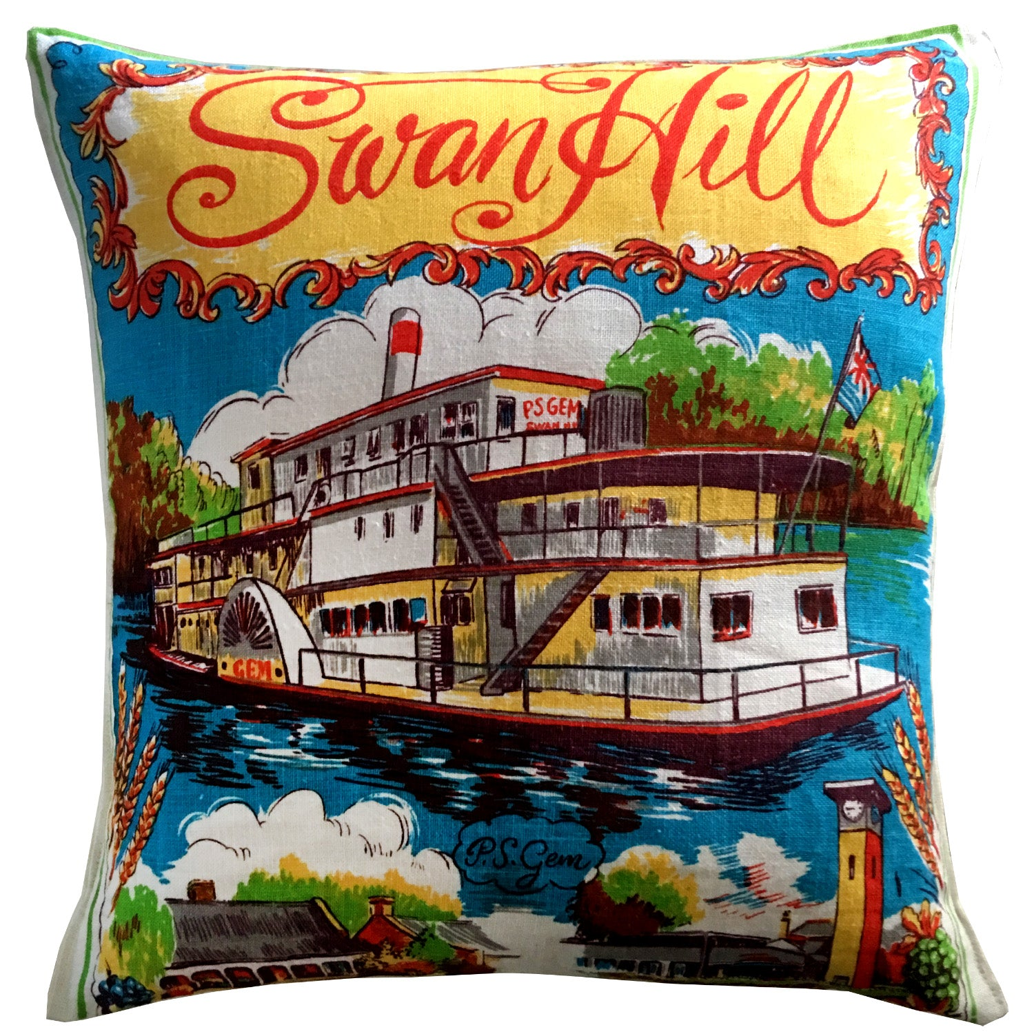 Swan Hill souvenir teatowel cushion cover