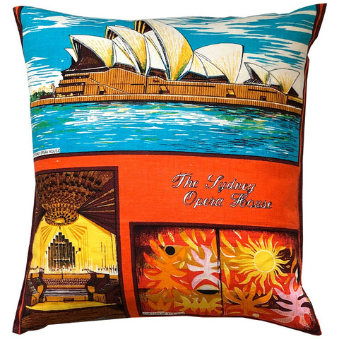 Sydney Opera House on vintage linen teatowel cushion cover