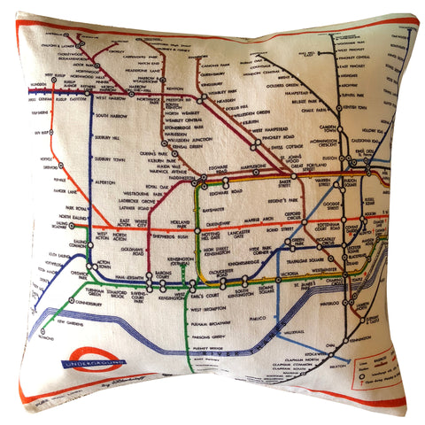 London Tube Map retro teatowel cushion cover