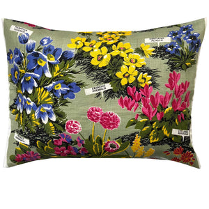 Blooms on vintage linen teatowel cushion cover