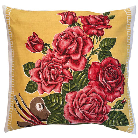 Roses and artists palette vintage linen teatowel cushion