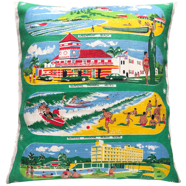 Vintage gold coast scenes souvenir teatowel cushion cover