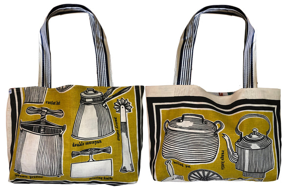 Vintage Kitchen utensils teatowel tote