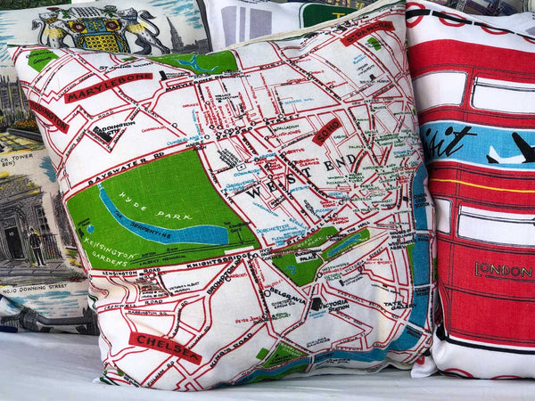 Visit London souvenir map cushion cover