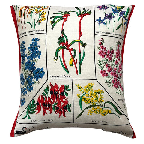 Retro cushion cover West Australian wildflowers