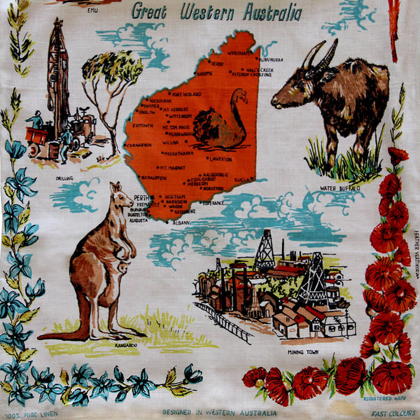 Love And West western australia vintage teatowel cushion cover