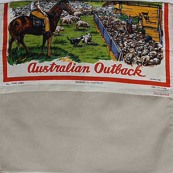 Love And West Wilcannia vintage teatowel cushion cover