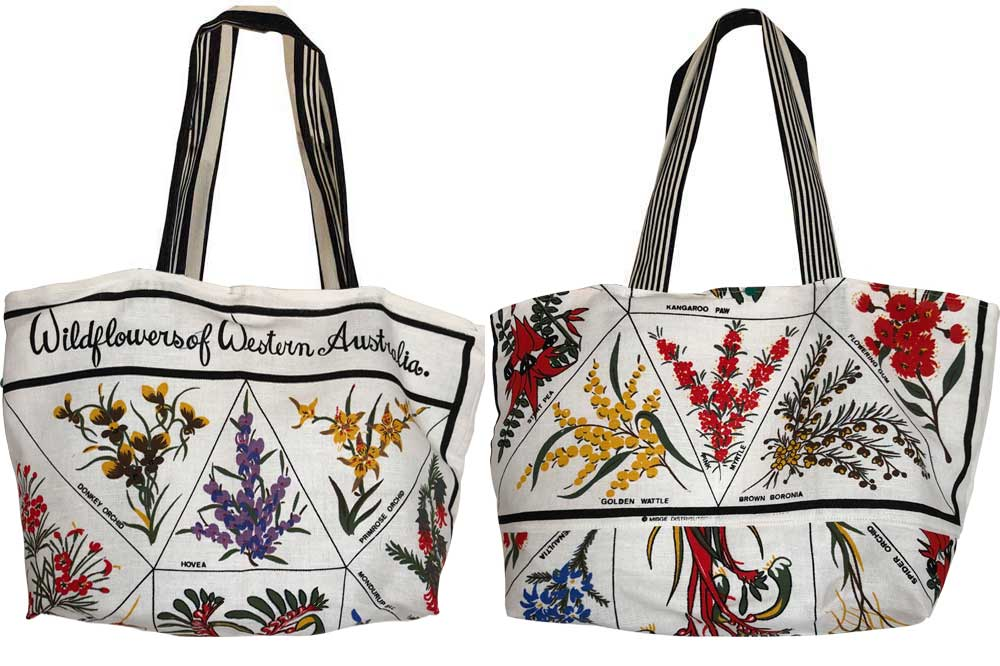 West Australian wildflowers teatowel tote bag