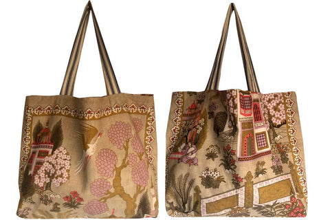 Willow pattern in pinks and mauves linen teatowel tote