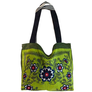 Blue and Green vintage linen teatowel tote bag