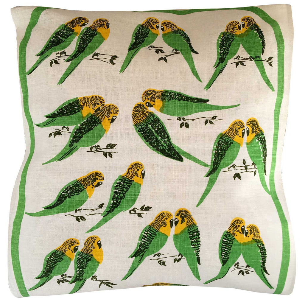 Budgies on cream linen
