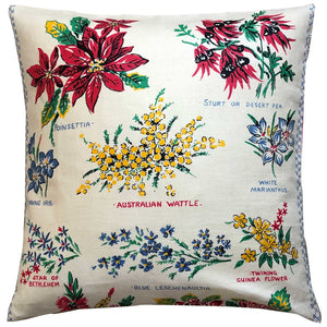 Cream vintage linen australian wildflowers cushion cover