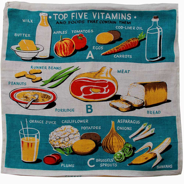 Love And West Top five vitamins vintage teatowel cushion cover