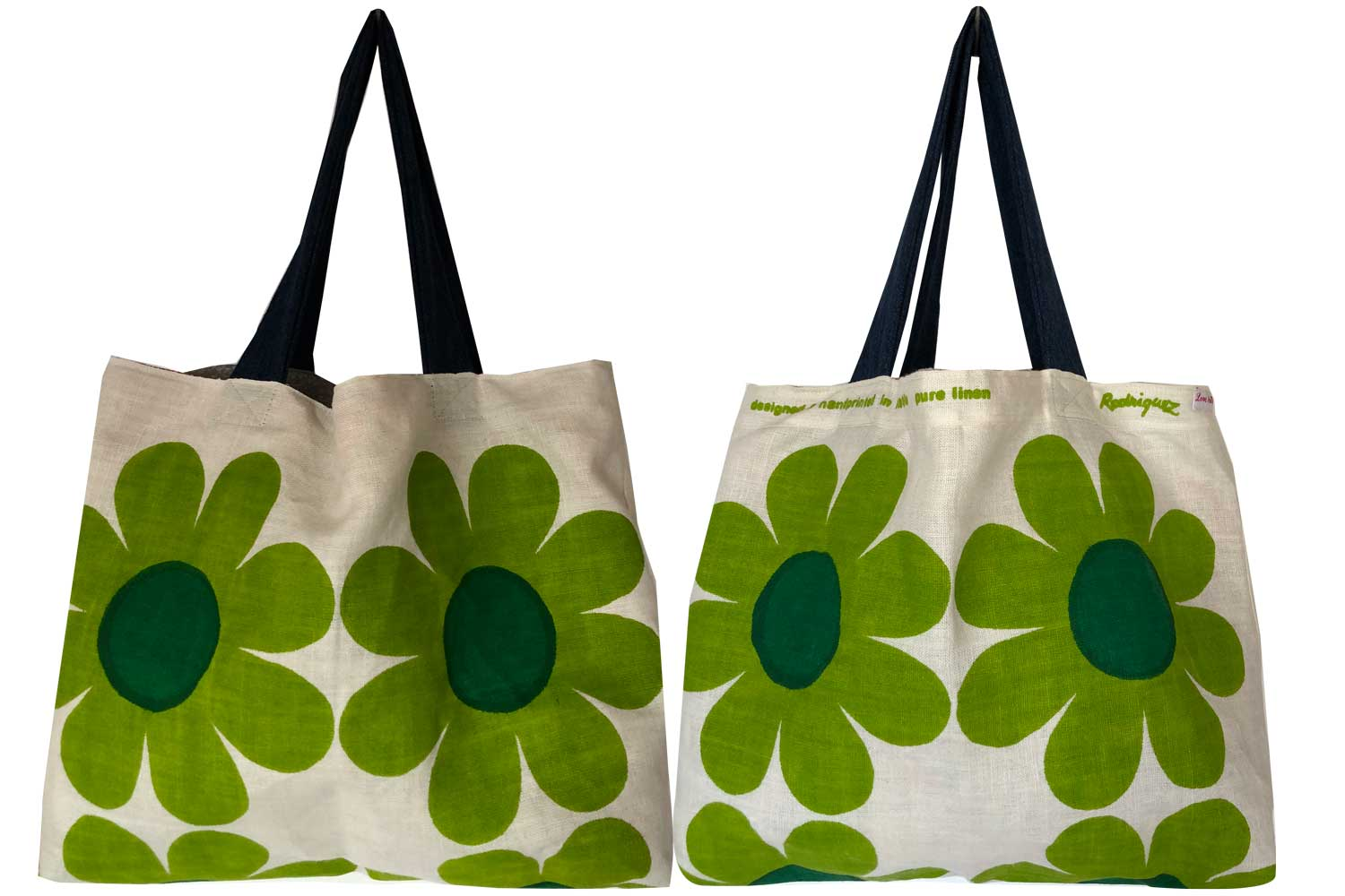 Happiness in green floral linen teatowel tote