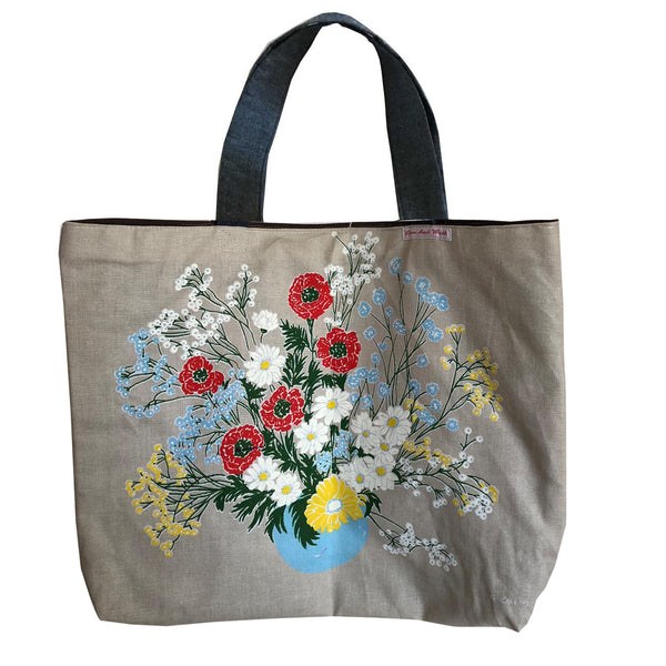 Florals tote grey and blue