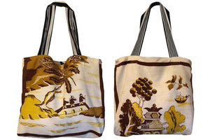 amber willow pattern teatowel tote