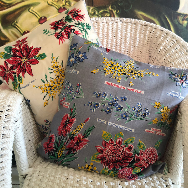 Wildflowers of Australia on silver linen teatowel cushion cover