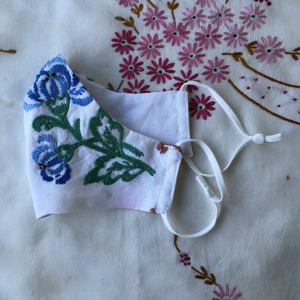 reusable facemask vintage embroidered linen